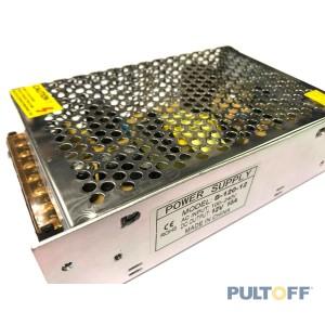 12V 10A Stroomadapter AC/DC metaal 160x100x45mm. Aansluitingen met schroefbevestiging