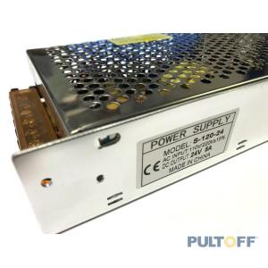 24V 5A Stroomadapter AC/DC metaal behuizing zonder snoer. Aansluitingen met schroefbevestiging